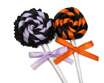 Halloween Lollipops and Hard Candies Hair Clips, Pins, and Place Settings for Parties - Made to Order