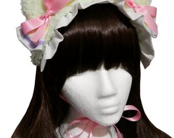 Sweet Mint Green and Kawaii Rainbow Teddy Bear Bonnet Headdress