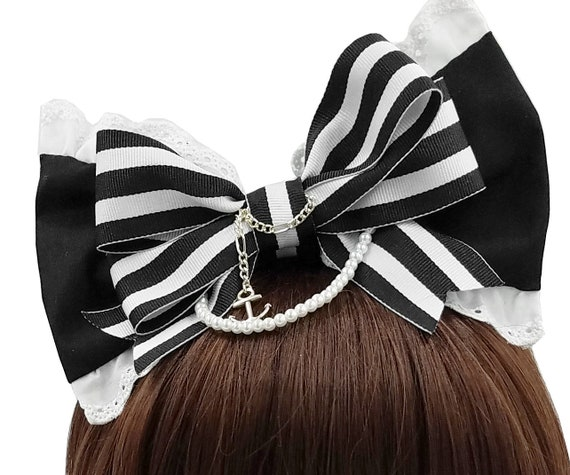 Nautical Red White Stripes Fabric Anchor Sailor Costume Headband Hairband Alice
