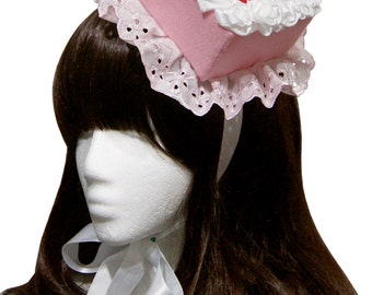 Sweet Pink Fondant Strawberries and Whipped Cream Cake Hat