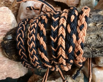 Braided Hemp Anklets or Bracelets in Black & Cappuccino Geometric Patterns Men Women Kids all ages Hippie Surfer Boho Hemp Beach Jewelry