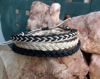 Braided Hemp Bracelet Set of 3 in Black, Natural Beige, & a Mixed - Braided Hippie Surfer Beach Hemp Bracelets for Men or Women all ages