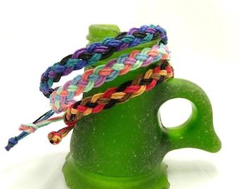 Four Color Hemp Anklet Bracelet Braided in Coral Reef, Desert, Deep Space, or Choose your own Color Scheme  Hippie Surfer Hemp Men Women All