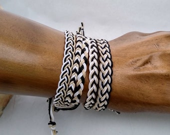 Hemp Anklet or Bracelet braided in indigenous patterns hippie surfer hemp jewelry men women all ages - choose 1 or select more to stack them