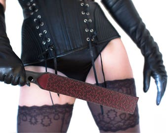 Spanking Paddle - BDSM Paddle -  Black and Red Spanking Paddle - Leather Paddle - Spanking Slapper - Spanking Strap