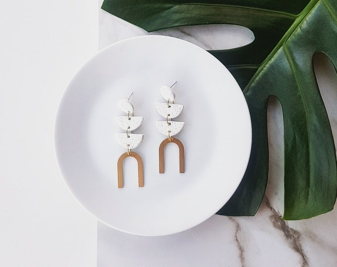 Featured listing image: Ayla Earrings | White fleck & Gold