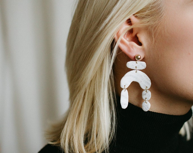 Featured listing image: Isolde Earrings | White fleck