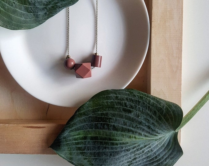Featured listing image: Isla Necklace |  Geometric trio  |  Scarlet