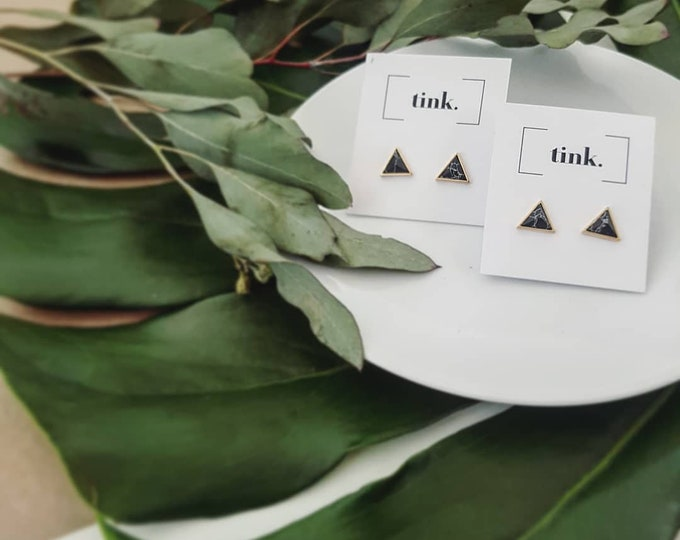 Featured listing image: Valentina Earrings || Marble Triangles || Gold Studs