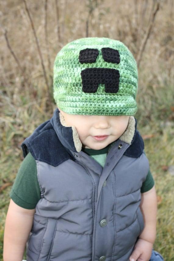 Minecraft Creeper Hat Easy Crochet Pdf Pattern Infant Etsy