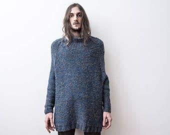 90c5b8e80a5 Pull en maille rustique des années 60 Boho tortue cou pêcheur Chunky  tricotés en fil bleu pull Rémiz Tricot Pull Laine tricot ample