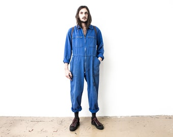 80s French blue coveralls SMALL  80s blue coveralls  blue worker jumpsuit