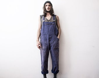 bf0c294dc560 Aged Old French Work Dungarees 60s Workwear Overall Coverall Factory  Mechanic Jumpsuit Bleu De travail French Vintage Antique Clothing
