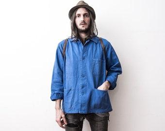 7eba3f26f10 Français travail veste des années 70 WorkWear travailleurs veste printemps  été veste bleu de travail Français Vintage vêtements d extérieur