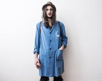 ee9ce279063 Travail Français veste 70 s Vintage corvée manteau travailleurs Blazer veste  WorkWear printemps été vieilli coton chemisier Bleu De Travail Veste