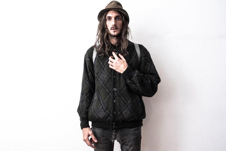 Knitted Jacket 70s patterned Cardigan Bomber Jacket Retro Boho Hippie Woolen Sweater Jacket