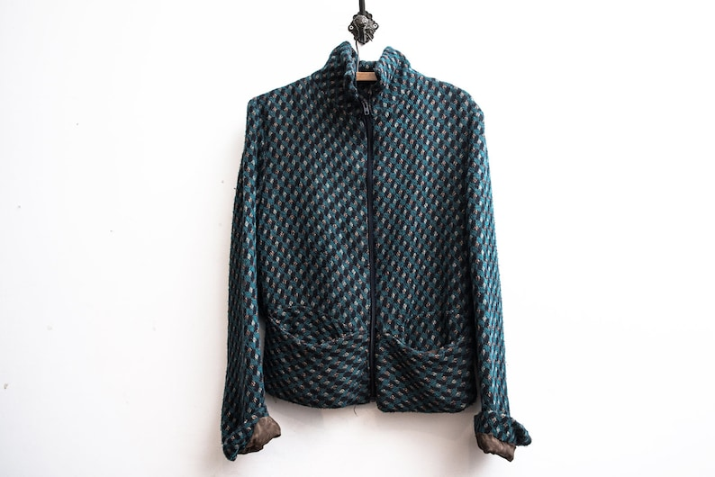 Boho 70s Jacket Patterned Green Knit Sweater Rustic Jacket Blouson Duster Hand Knitted