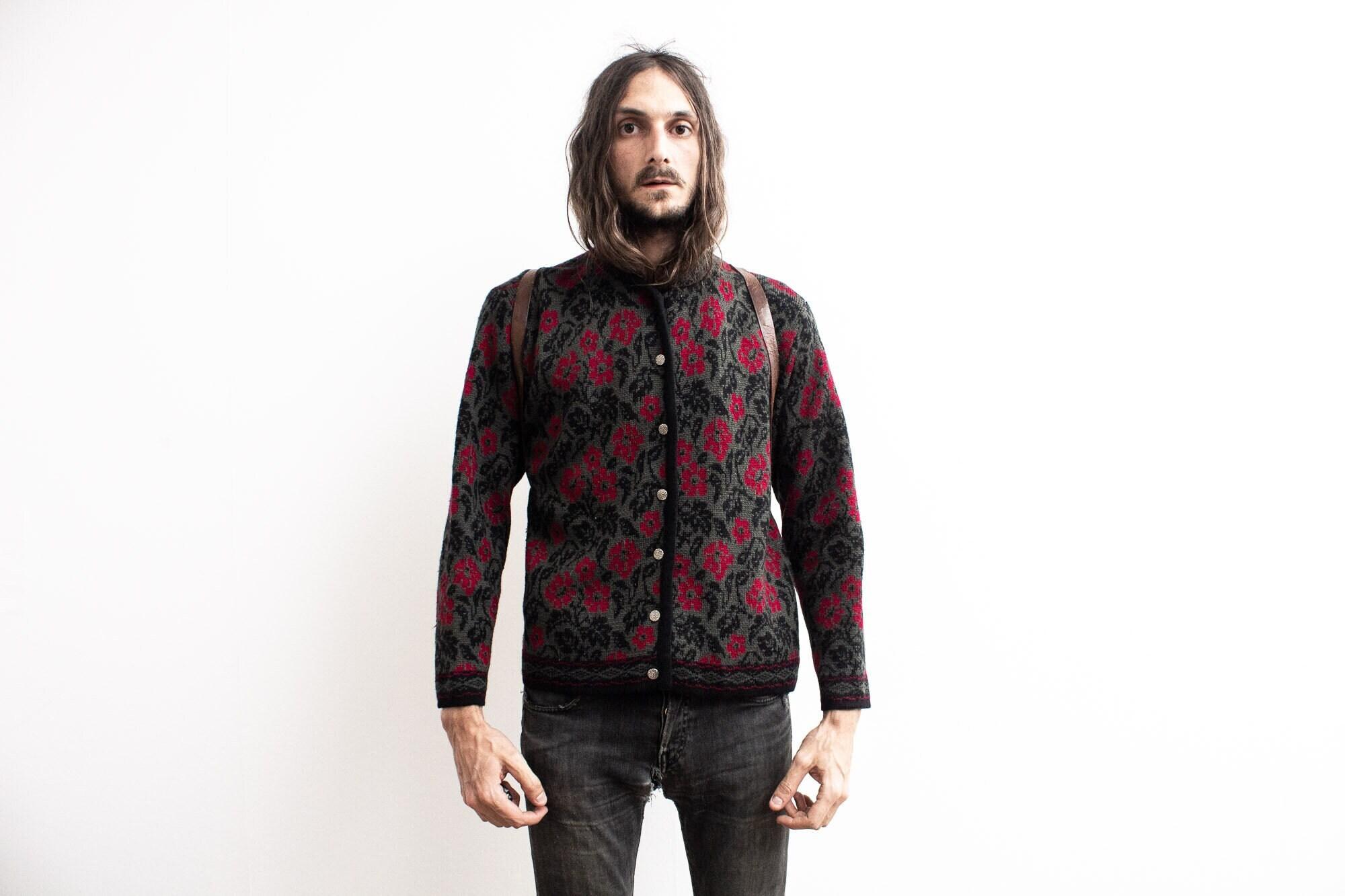 80s Sweatshirts, Sweaters, Vests | Women Floral Pattern Cardigan . 80S Retro Flower Knit Sweater Winter Vest. Botanical $54.23 AT vintagedancer.com