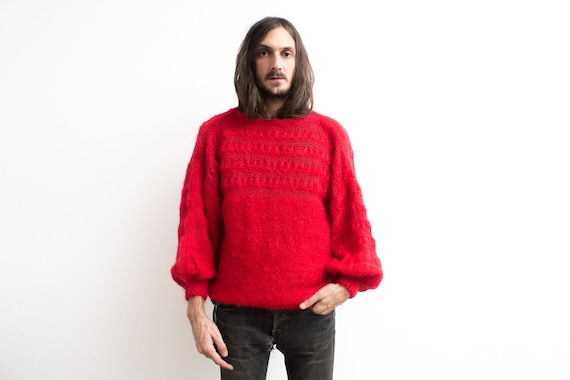 Red Mohair Sweater . 80s Mohair Knit Slouchy Sweat