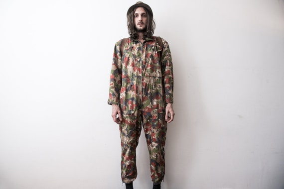 Swiss Army Jumpsuit 60s Camouflage Coverall . Mili