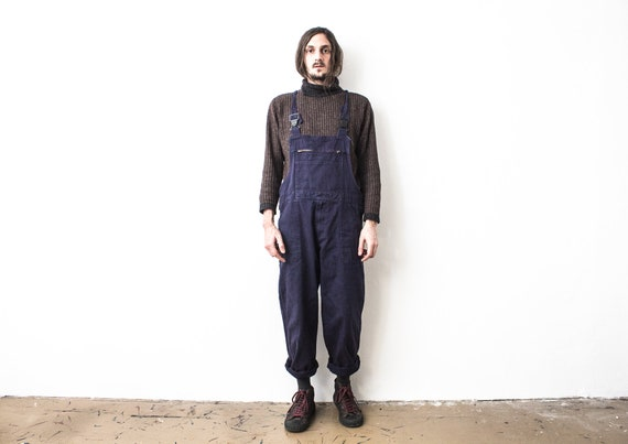 Blue Work Overall . 1980s Worker Dungarees . Frenc