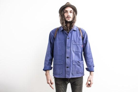 French Work Jacket . 80s Chore Jacket . Utility Wo