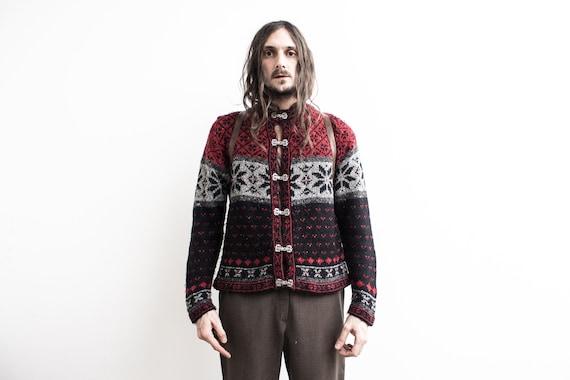 Norwegian Sweater 70s . Hippie Embroidered Sweater