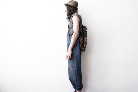 Herringbone Work dungarees 60s Workers Overall Co… - image 3