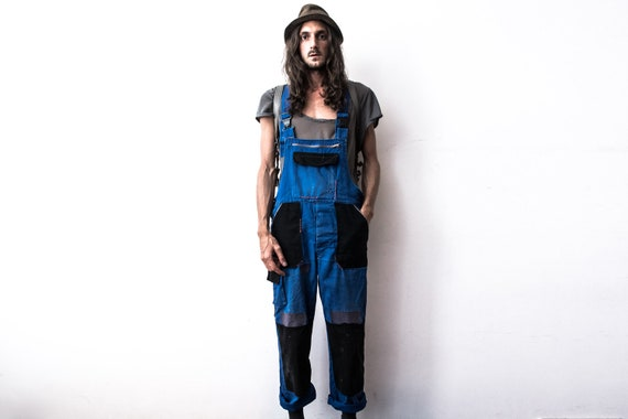 Vintage Patched Dungarees 80s . Work Overall Cover
