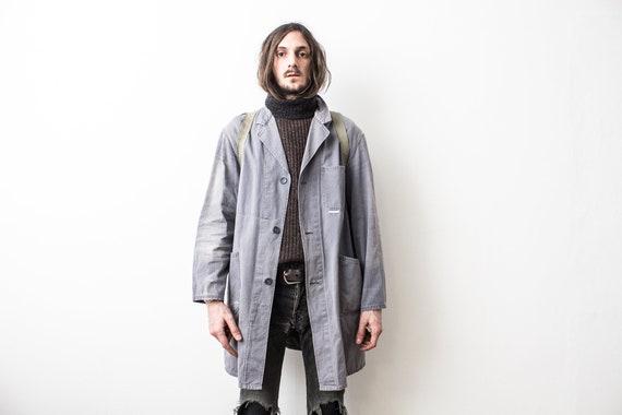 1970s Gray Work Jacket . Duster Spring Jacket . Fr