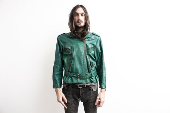 Green Biker Jacket. 80s Moto Jacket Leather Bomber