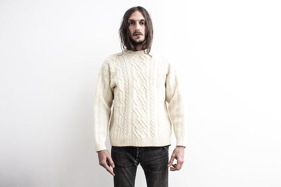 70s Fisherman Sweater . Cable Wool Sweater . Cream
