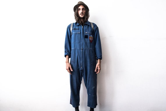 French Work Coverall 60s Workers Jumpsuit Patched