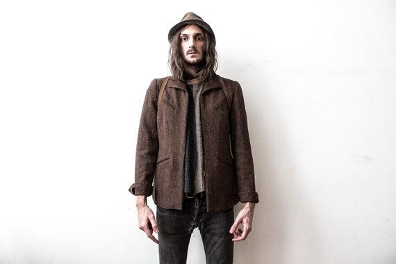 Spring Jacket 70s Brown Wool Duster Jacket Over Sh