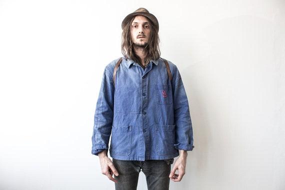 French Chore Jacket . 70s Faded Work Jacket Workwe