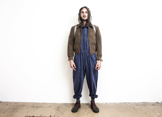 French Work Jumpsuit . 60s Worker Coverall . Rugge