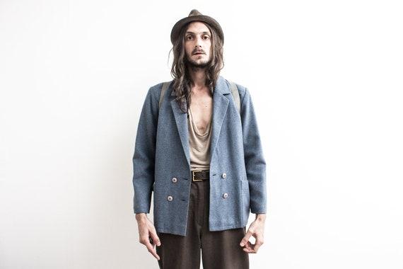 70s blue Blazer Jacket . Woolen Blazer Short Jacke