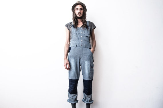 Workwear Striped Dungarees 80s . Workers Overall C