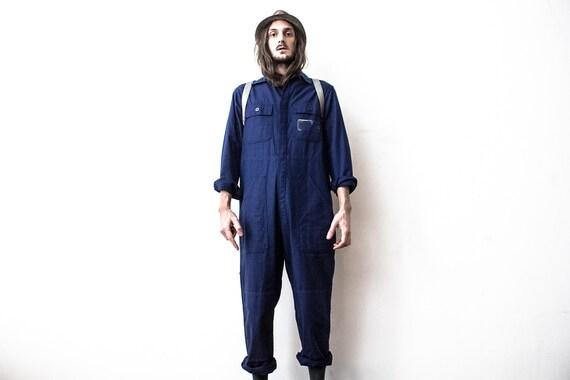 Herringbone Jumpsuit 80s Blue Boiler Suit HBT Retr