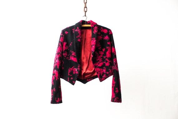 Floral Blazer Jacket . 70s Woolen Pink Black Flowe
