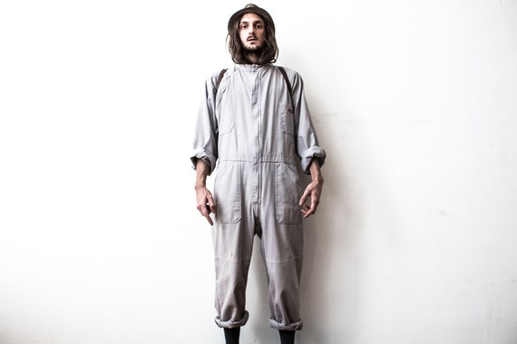 Gray Work Jumpsuit 70s Boiler Suit Workers Coveral