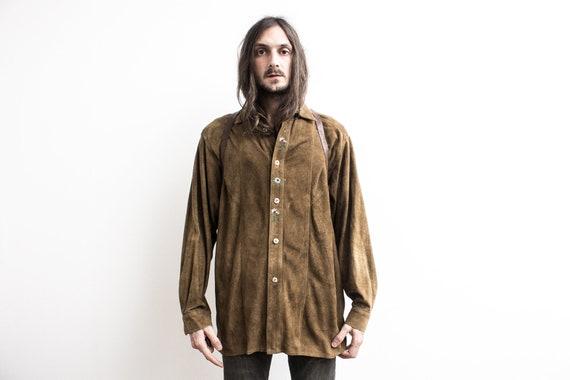 Bavarian Suede Shirt . 1970s Leather Shirt Bavaria