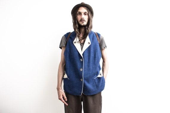 Bavarian Linen Vest . Sleeveless Jacket . Blue Okt