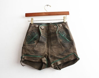 Vintage 1960s Old Bavarian Suede Shorts Leather Austrian Rusty Aged Shorts High Waist Antique Clothing