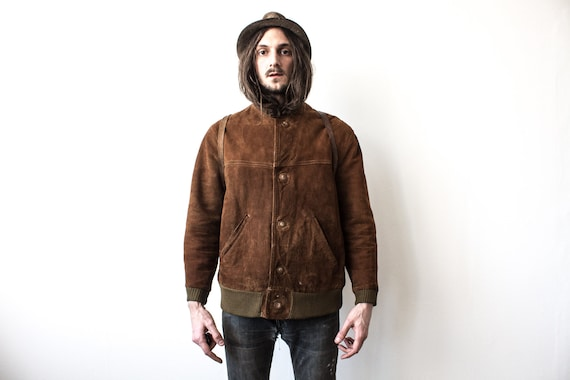 Suede Bomber Jacket 60s Retro Leather Spring Jacke