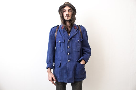 French Fireman Jacket 80s Workwear Workers Jacket… - image 4