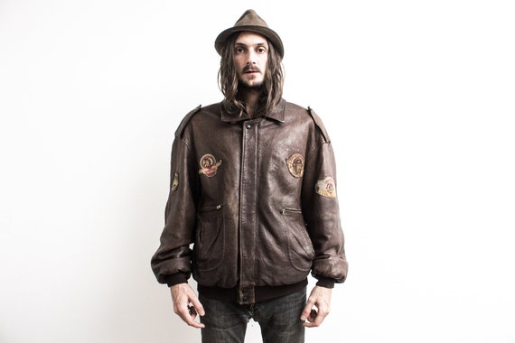 1970s Flight Jacket . Brown Pilot Leather Jacket .
