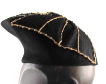Womens Hat Black Velour Fur Felt Gold Butterfly Handmade Hat Church Cloche Derby Ascot Races Fedora Art Deco Custom Made for Each Client