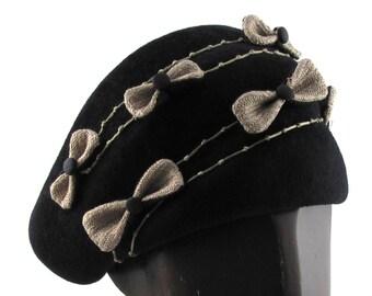 Womens Hat Black Velour Fur Felt Hat Beige Bows Handmade Hat Church Cloche Derby Ascot Races Fedora Art Deco Custom Made for Each Client