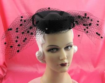 Womens Hat Gray Fur Felt Velour Black Chenille Veil Rhinestone Handmade Derby Ascot Races Art Deco Bride Church Custom Made for Each Client